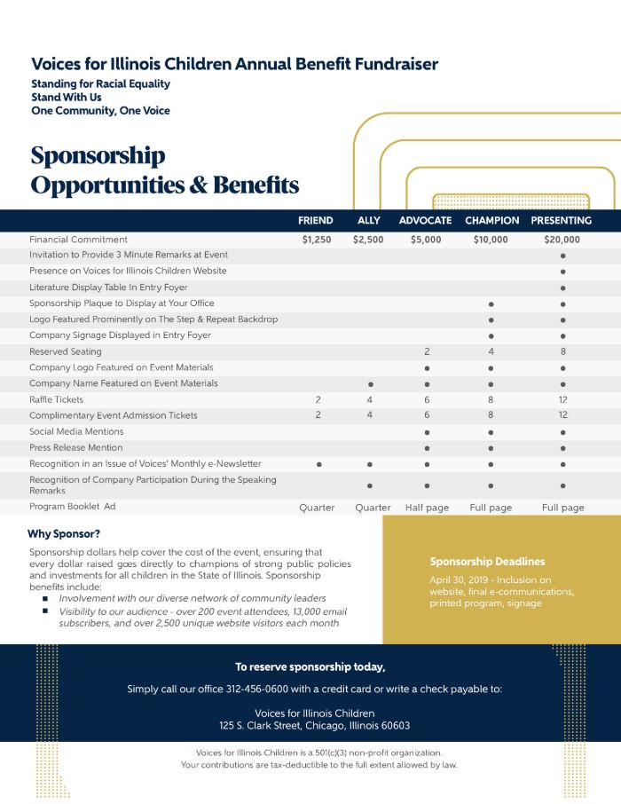 Voices for Illinois Children Sponsorship Levels